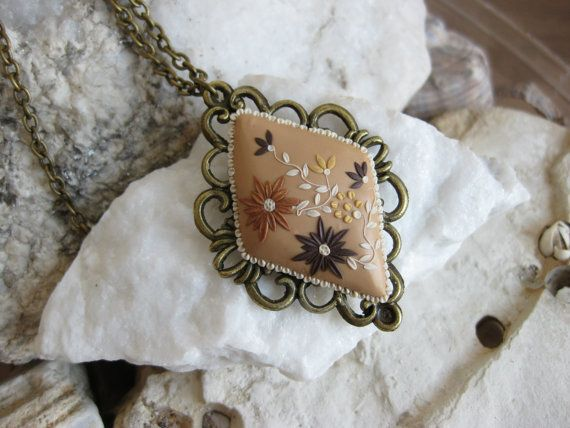Beige Necklace Champagne necklace Creme by LandOfJewellery on Etsy, $28.00