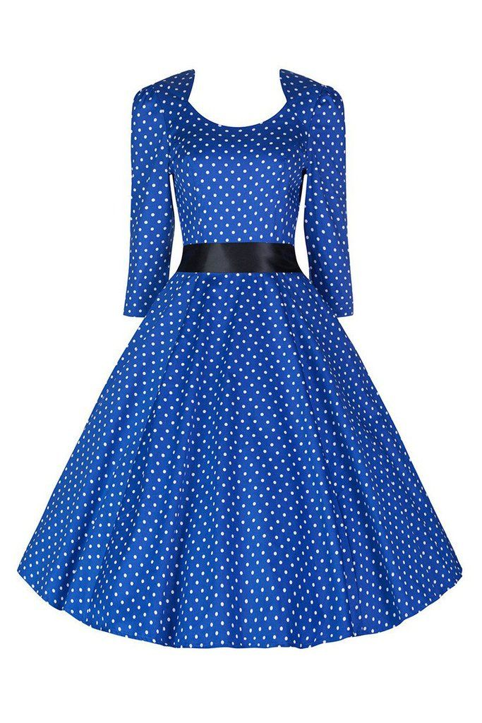Blue and White Polka Dot Long Sleeve Swing Dress