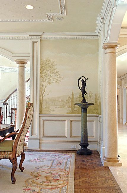 Mural stencils elegant mural for dining room grisaille for Ceiling mural decal