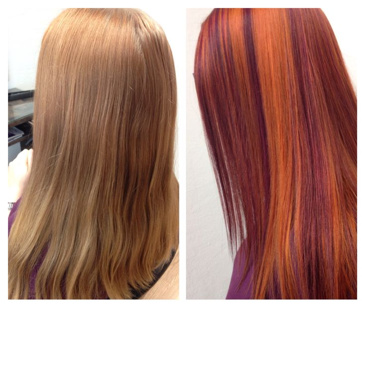 Before and after. Copper and violet hair