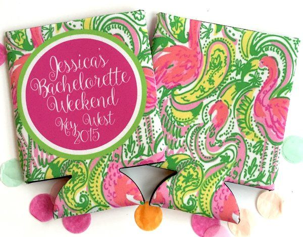 Bachelorette or Birthday Party Flamingo Koozies. Flamingo Wedding Shower. Flamingo Party favors
