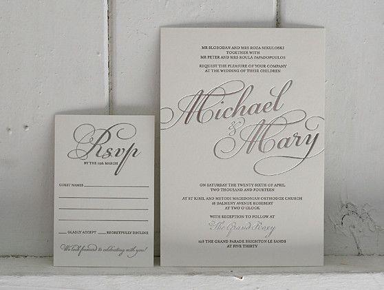 Letterpress wedding stationery - silver foil