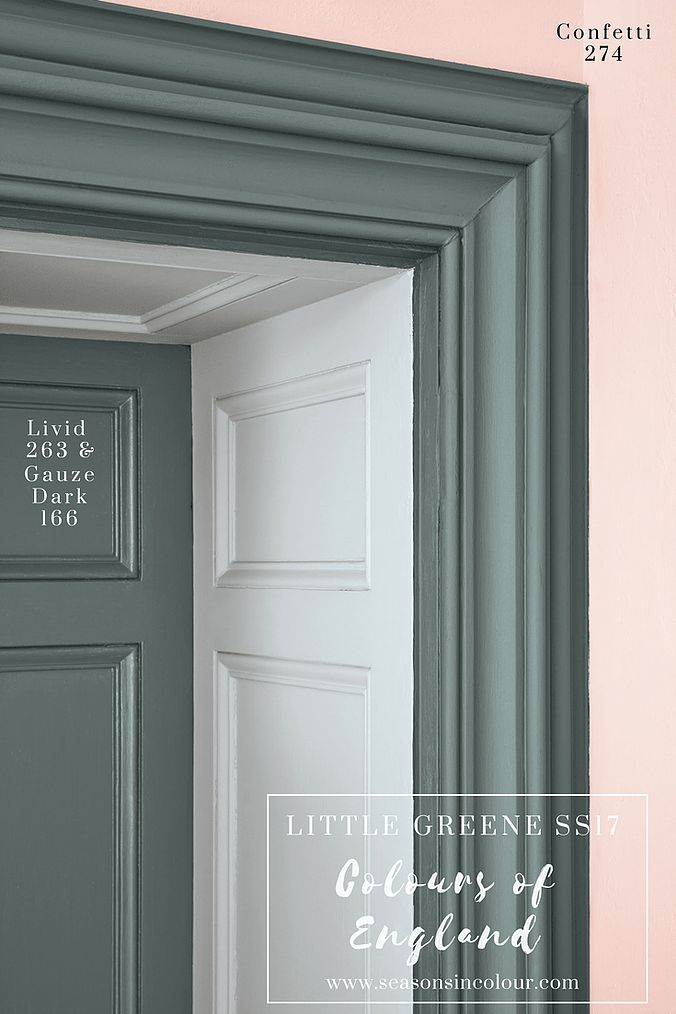 Grey and pink such a beautiful combination! Interior decor and paint | CONFETTI and LIVID by Little Greene Colours of England Colour Card, perfect for bedroom. Romantic colour combinations for interior decor.