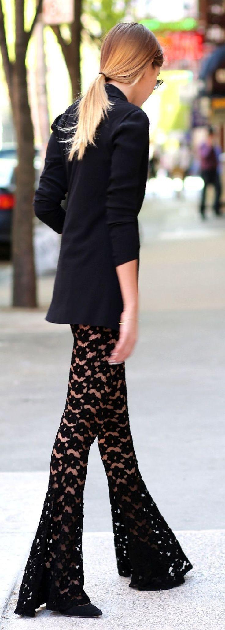 #summer #boho #style #outfitideas |Black Eyelet Geometric Print Lace Bootcut Pants + Blazer