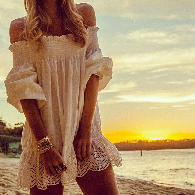Sexy boho chic tunic gypsy style ruffled beach cover up for a modern hippie look.