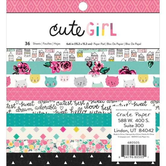 Crate Paper Cute Girl - Single-Sided Paper Pad 6x6inch