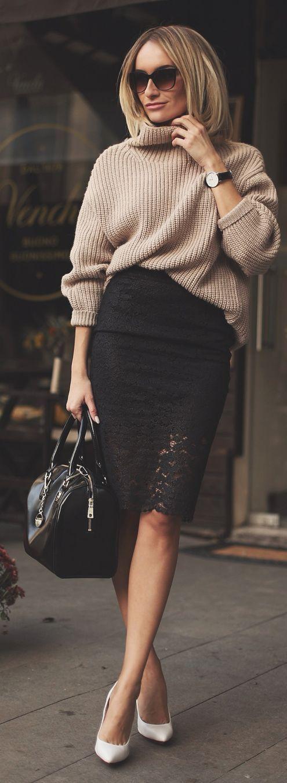 Black Lace Hem Pencil Midi Skirt