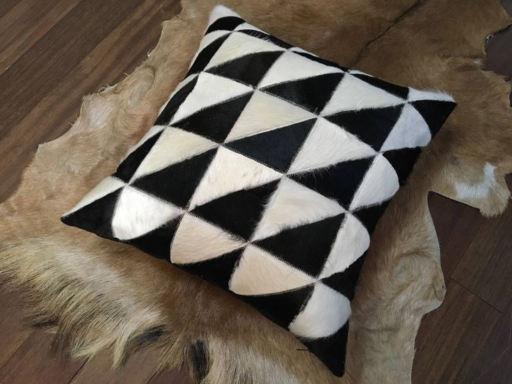 """NEW 19"""" designer genuine cowhide pillow black and white geometric patchwork - free shipping in Canada and USA Throw Accent Sofa gift Scandi http://etsy.me/2otbVsC #housewares #homedecor #white #black #bedroom #gauchocollection #cowhide #western #cushion"""