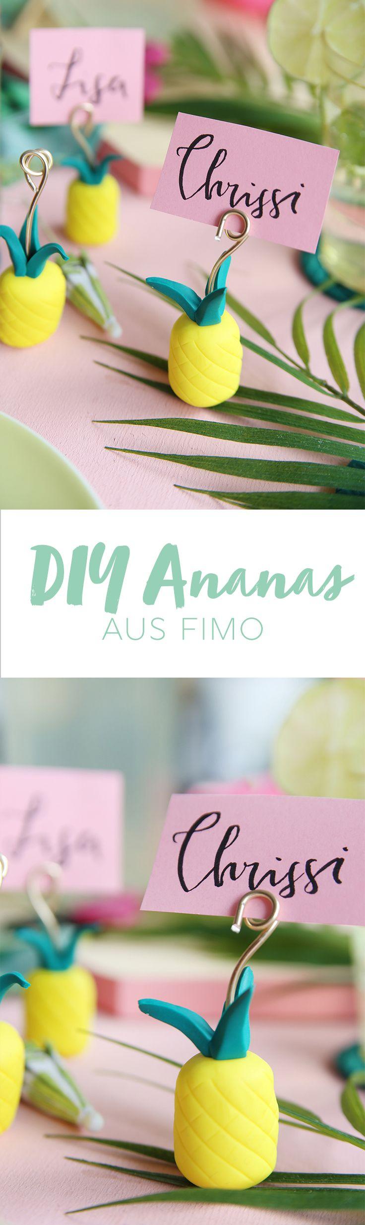 Kreative DIY-Idee aus Fimo: Fimo-Ananas als Tischkarten- oder Fotohalter   – ~ DIY Inspirationen ~