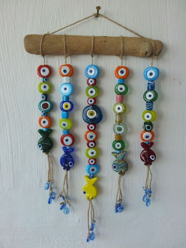 EV AKSESUARLARI. Colorful evil eye mobile for home. My favorite stuff on my wall at the work area. Diy. #mobile #Turkey #Bodrum