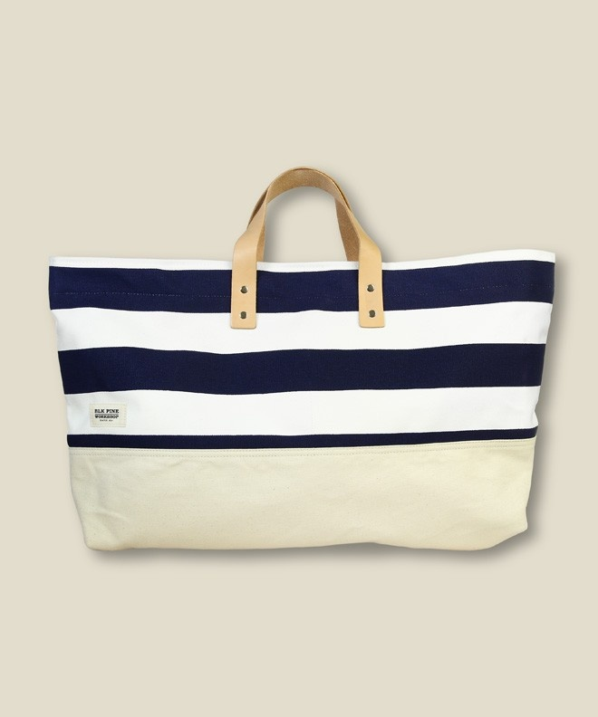 stripes + leather: Navy And White, All Beaches, Blk Pine, Pine Workshop, Beach Bags, Summer Bags, Beaches Bags, Leather Bags, Stripes Totes