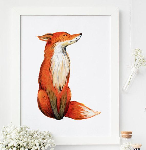 Fox print fox wall art woodland nursery by PrintableLifeStyle
