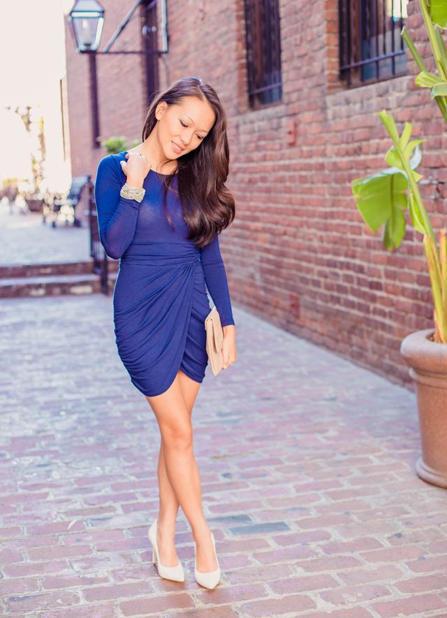 Autumn Romance : Royal Blue Dress & White Heels | StylebyAlina ...