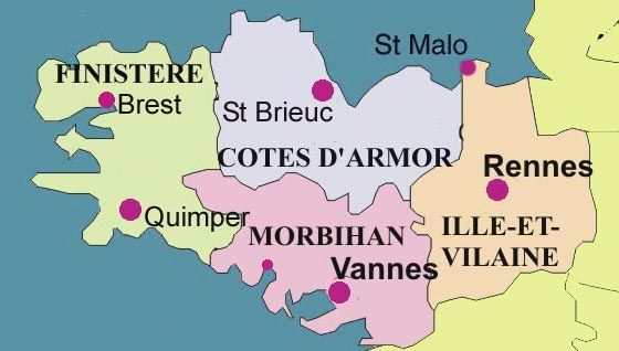 Regions of Bretagne