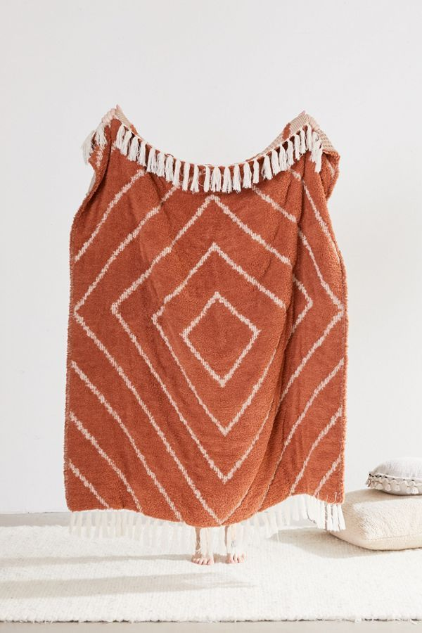 Stevie Sherpa Waffle Throw Blanket In 2020 Knitted Throws Boho Blanket Knit Throw Blanket