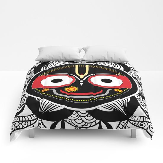 #Duvet cover #Jagannath #Home  #decor #black #white #red