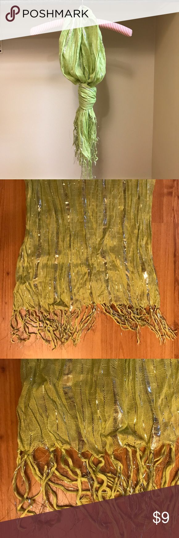 Lime and metallic silver scarf Lime and metallic silver scarf. Gently worn and in good condition. Super soft and lightweight! Accessories Scarves & Wraps
