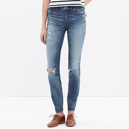 Madewell - High Riser Skinny Skinny Jeans: Torn-Knee Edition