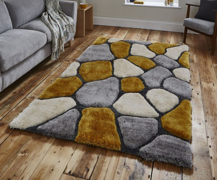 Grey Yellow pebbles shag pile rug 180cm x 270cm- LOW STOCK CONTACT US