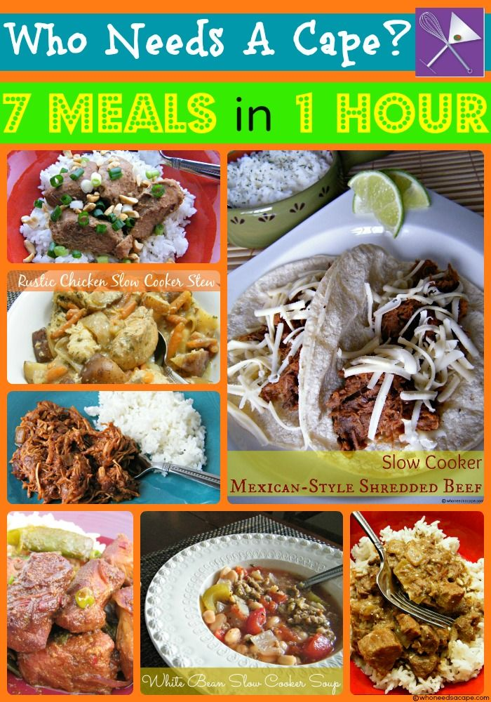 7 Meals in 1 Hour Slow Cooker Crockpot Freezer Meals | Who Needs A Cape? Take one hour and prep, bag and freeze 7 delicious slow cooker meals. Such a time and sanity saver for busy nights.