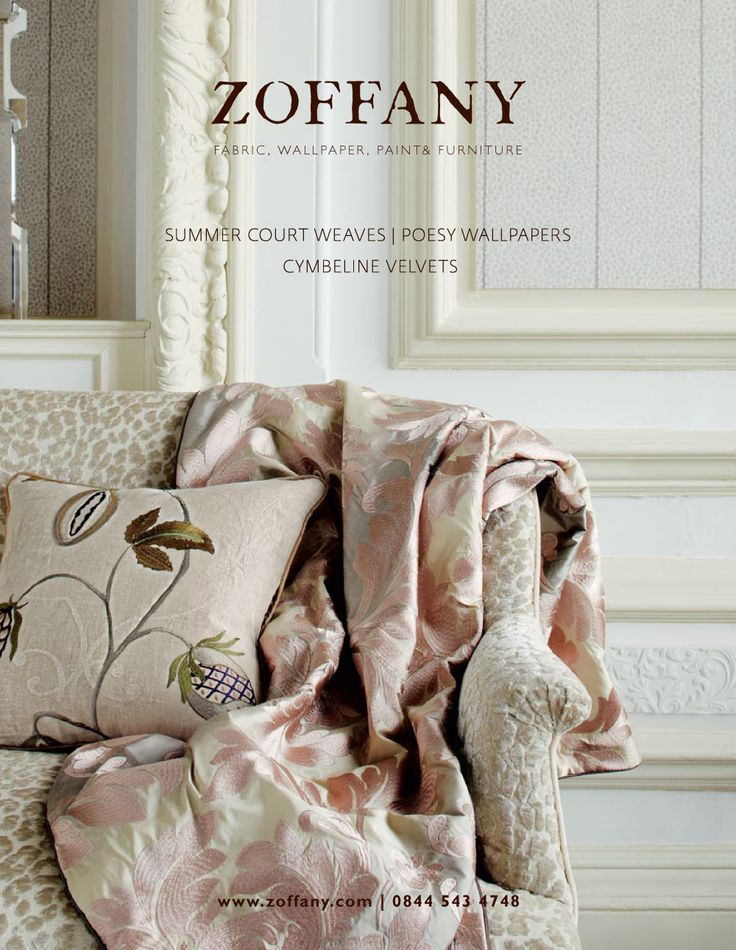 ZOFFANY SUMMER COURT AUTUMN 2011 Summer Court is based on 19th century damasks and jacquard weaves. The campaign is composed of two images, this one in beautiful blush mineral tones.