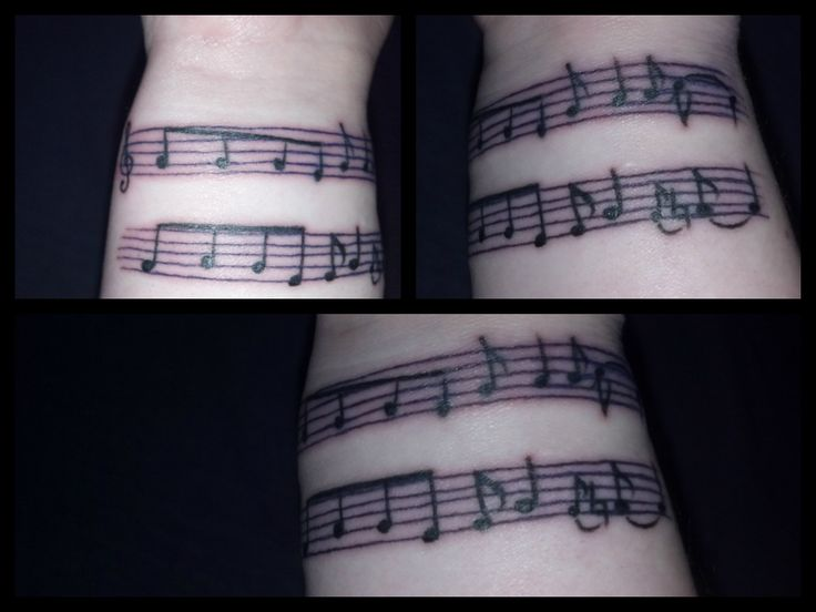 "Love my first tattoo!! ♥ I've always wanted music notes on my wrist since I was 13, and I finally got it. =] The notes are black and the staff is a dark purple (my fav colors). Its my dedication for my love for music and for my love for my most favorite band since I was 7; #Korn. The notes are from the first two lines of the song I picked out. Though it was difficult, I just went with one of their classic songs, ""Freak on a Leash"". I love my tribute to them. ♥ ....Now I want another…"