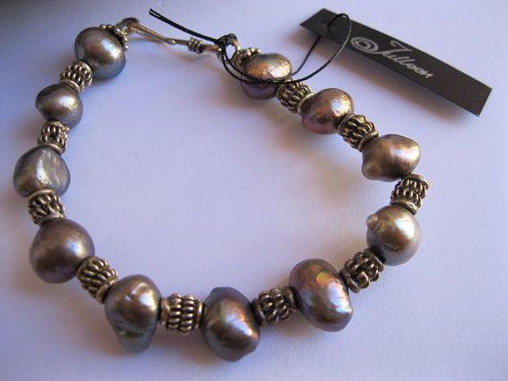 Julleen Black Baroque Pearl Bracelet by JulleenJewels on Etsy