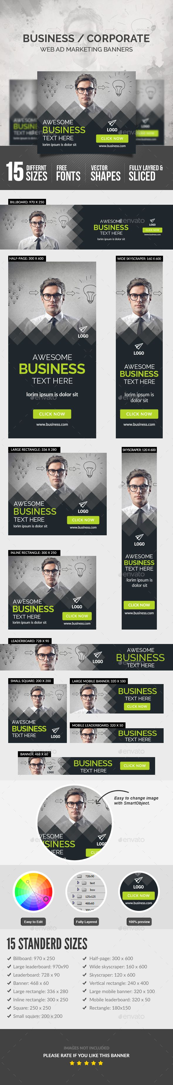 Business Banners — Photoshop PSD #advertise #social media • Available here → https://graphicriver.net/item/business-banners/18032488?ref=pxcr