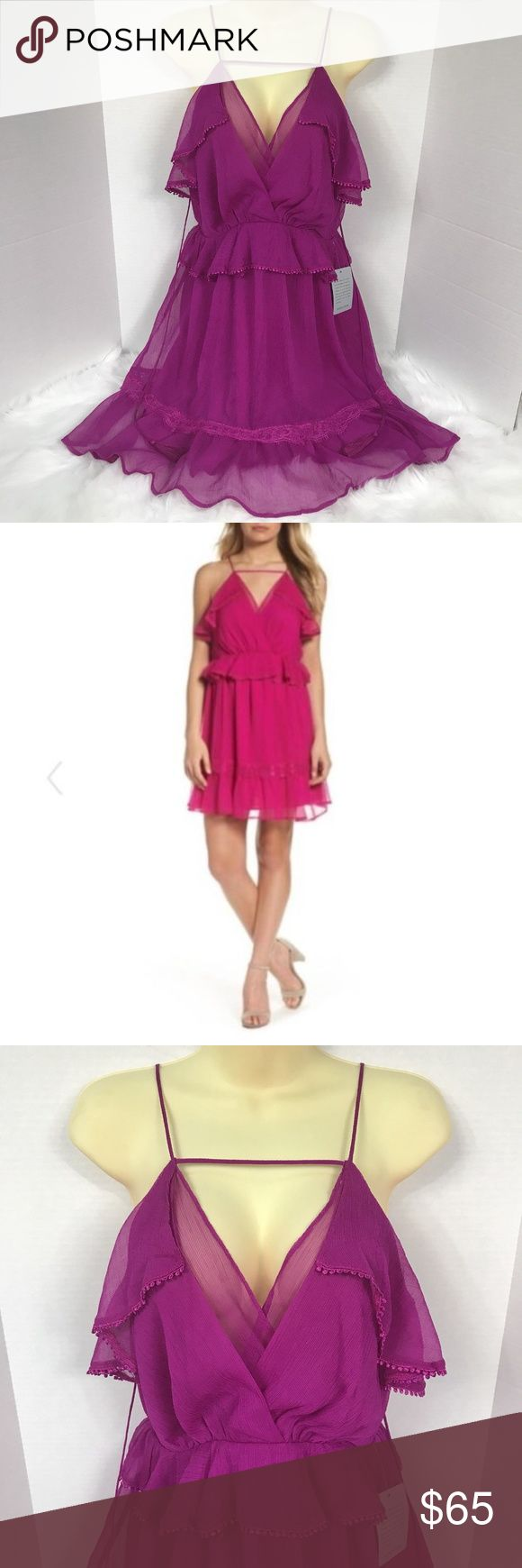 """ADELYN RAE Magenta Ruffle Mini Dress Frill Sz Med ADELYN RAE Magenta Ruffle Mini Dress Frill Lace Sheer Spaghetti Strap V-Neck Size Medium Med M MSRP $138 NWT  Adelyn Rae Ruffle Mini dress - Magenta. Lacy accents highlight the perfectly placed ruffles of a gauzy mini dress that's ready for a party.  - 35"""" length  - Surplice neckline - Sleeveless - Lined - 100% polyester - Hand wash, line dry  Flat lay measurements in inches:  Armpit to armpit: 20 Waist: 15 Top of Back V neckline to hem: 25…"""