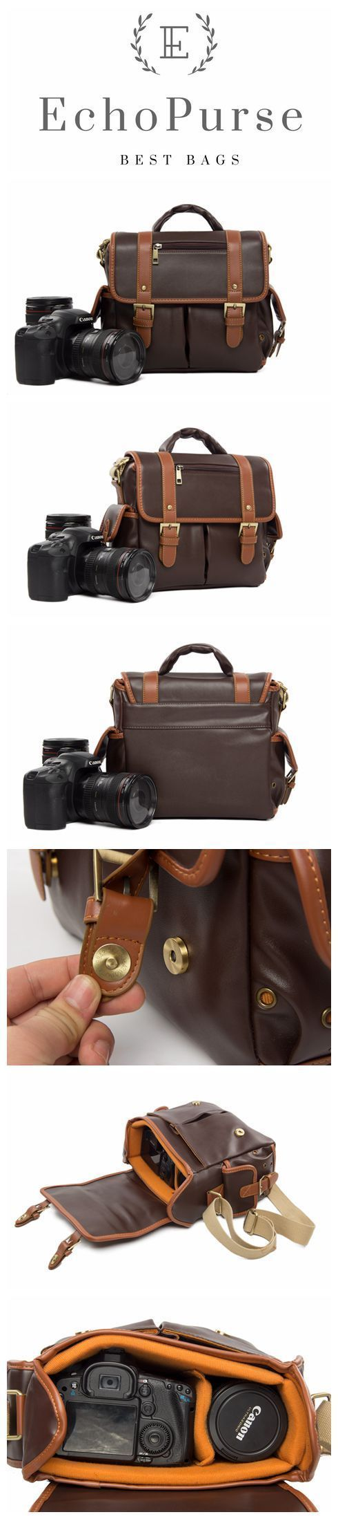 Handmade Leather DSLR Camera Pouch, Coffee SLR Camera Case 919