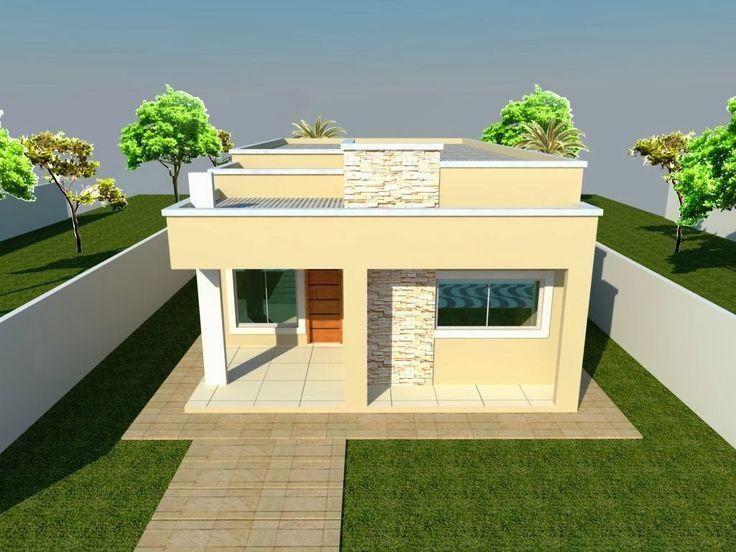 Fachada em platibanda pesquisa google casa pinterest for Modelos cielorrasos para casas