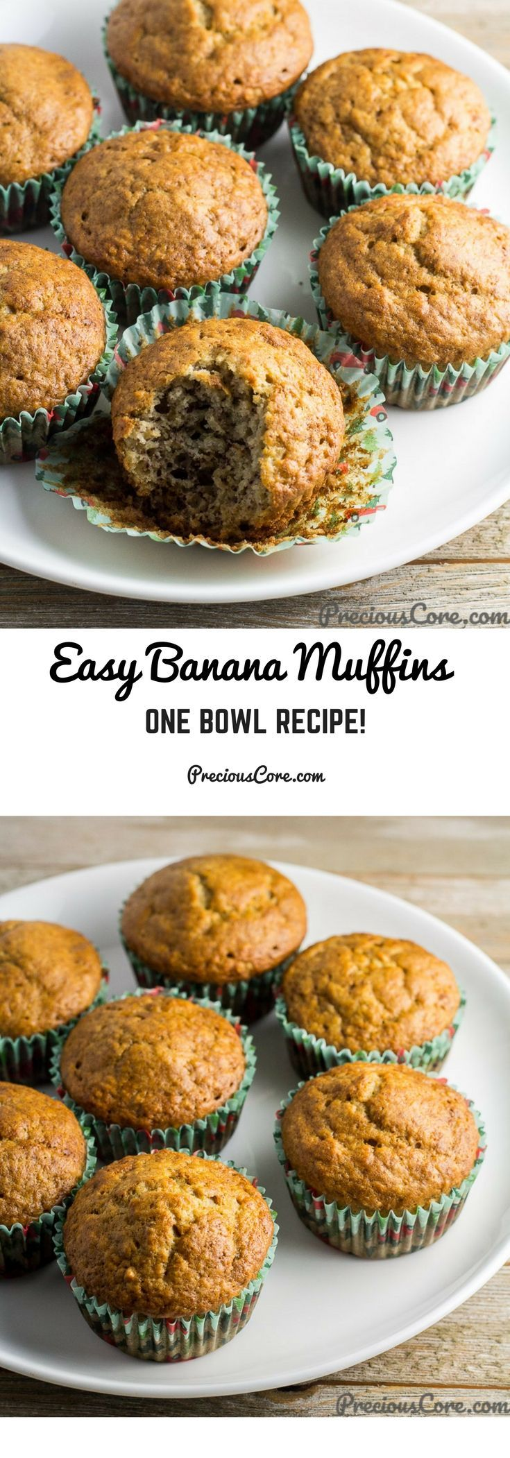 These banana muffins only require one bowl to make! They are great for breakfast, snacking or entertaining. Get the recipe on Precious Core. #breakfast #muffins #bananas #easyrecipes #baking