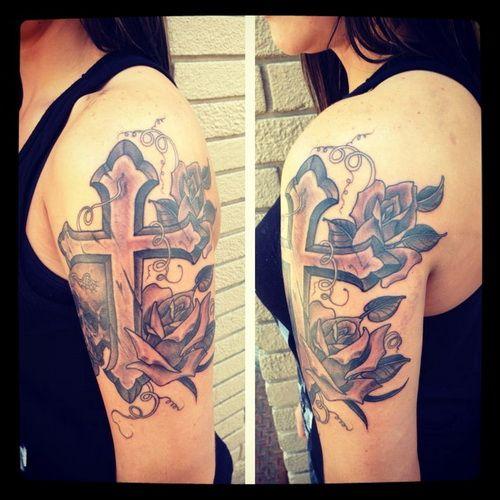 Rose Sleeve Tattoo With Cross | Sleeve Tattoos | Pinterest ...