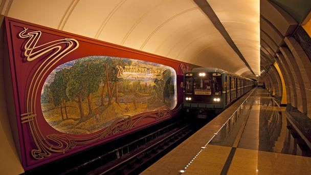 Twenty years after the fall of the Soviet Union, its epic history lives on in the buildings and monuments of Moscow, inspiring both awe and nostalgia. The Moscow metro was commissioned by Stalin to be incredibly ornate, as is seen here at the Maryina Roscha station. (Pete Seaward)