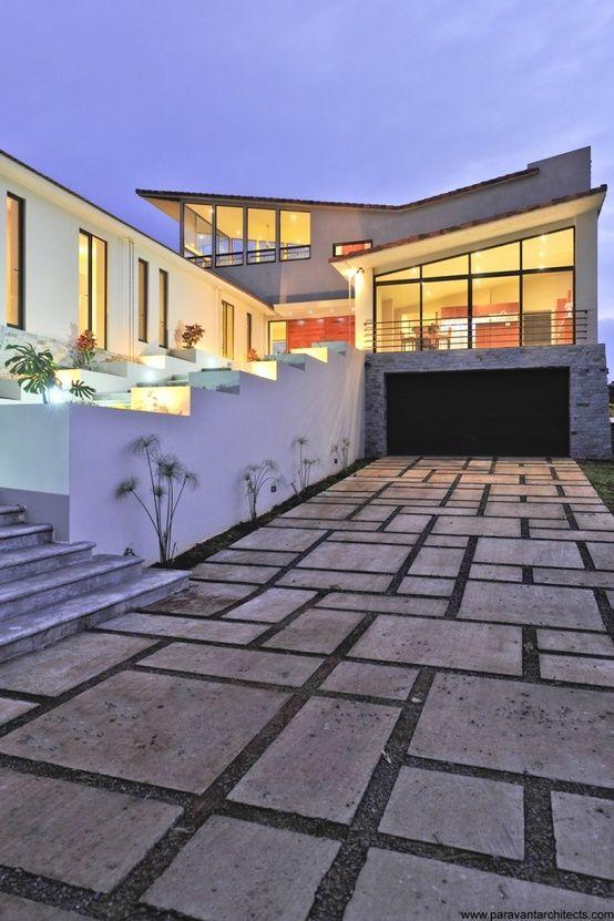 contemporary paving stones, modern house