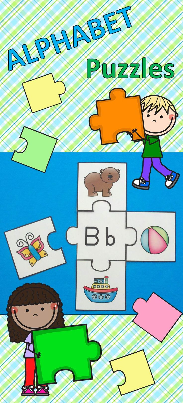 Phonics Fun for Your Little Learners!  Great for Morning Tubs, Early Finishers, Independent Practice, Literacy Centers, and Take Home Practice!  $   #alphabet  #puzzles  #beginningsounds #literacycenters  https://www.teacherspayteachers.com/Product/Alphabet-Puzzles-5-Piece-Puzzles-1814748