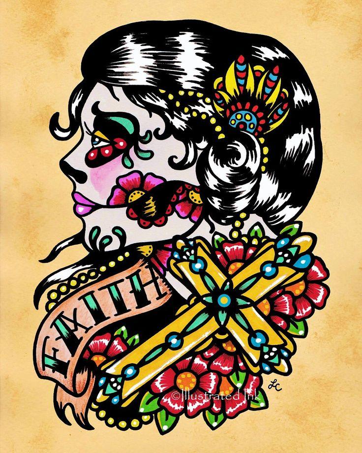 Day of the Dead Cross Woman FAITH Old School Tattoo Art Print 5 x 7, 8 x 10 or 11 x 14 by illustratedink on Etsy https://www.etsy.com/listing/182659614/day-of-the-dead-cross-woman-faith-old