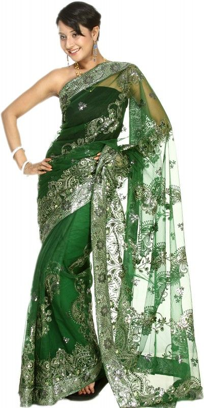 Bottle-Green Sari with Embroidered Silver-Colored Sequins All-Over - traumhaft!!!