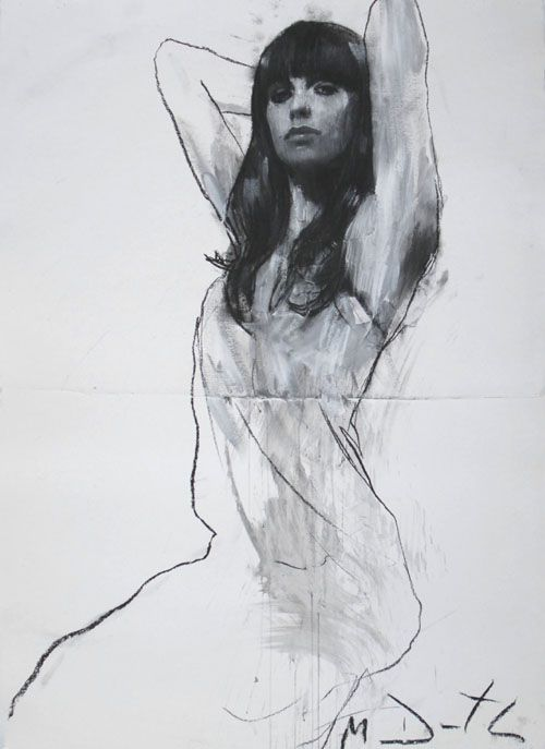 Natalie Seated With Both Arms Raised by Mark Demsteader, pastel and collage
