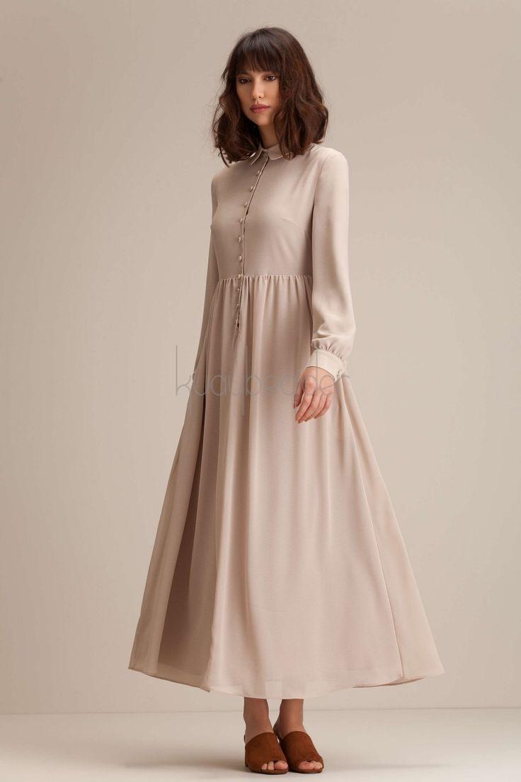 Kuaybe Gider - Bej Possione Elbise