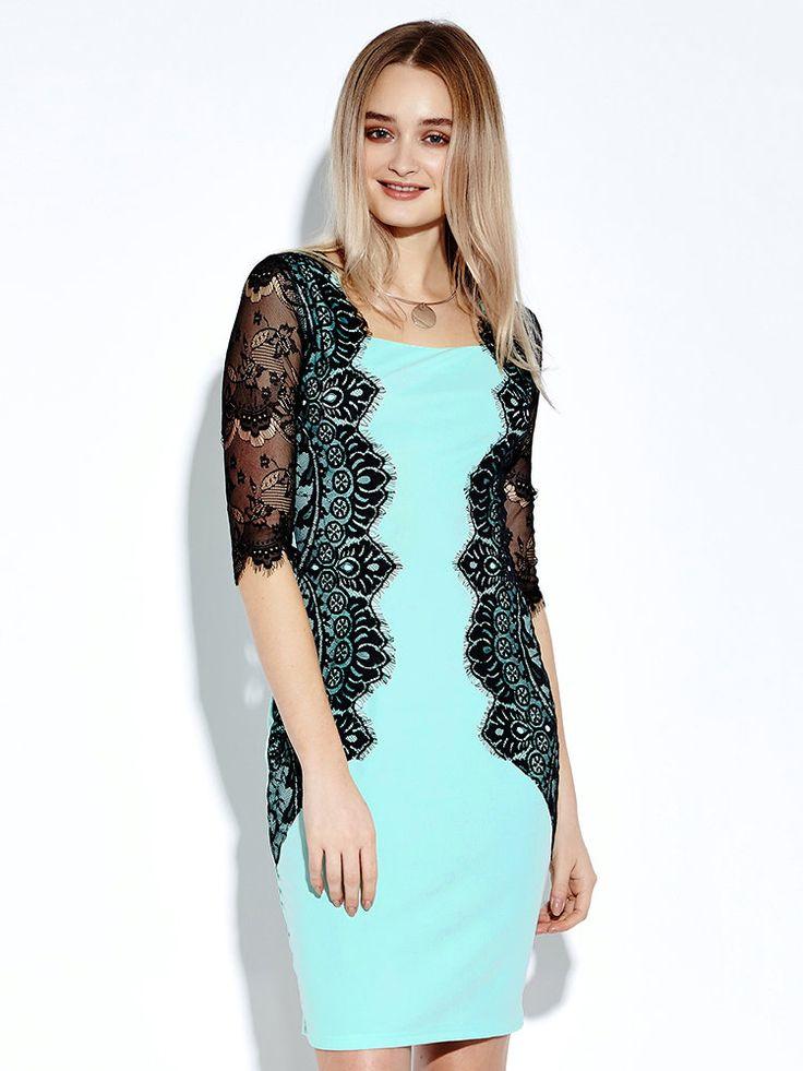 Women Lace Crochet Patchwork Sheath Blue Pencil Dress at Banggood
