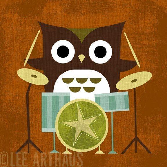 drum'n'owlNurseries Decor, Retro Owls, Leearthaus, Lee Arthaus, Drums Sets, Kids Room, Nursery Decor, Baby, Drummers