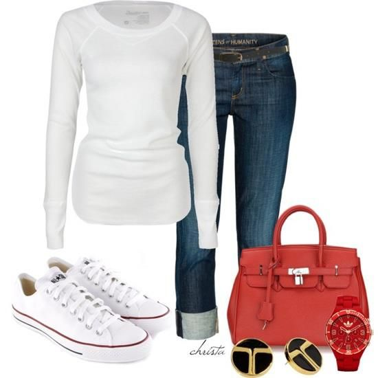 jeans pants; white blouse; red purse; white sneakers
