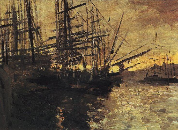 Константин Коровин. Галерея картин и рисунков художника - Корабли. Марсель. 1890-е г.