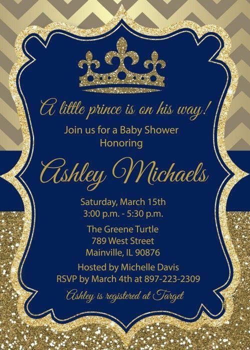 Prince King Royal Baby Shower Invitation Printable Or Printed