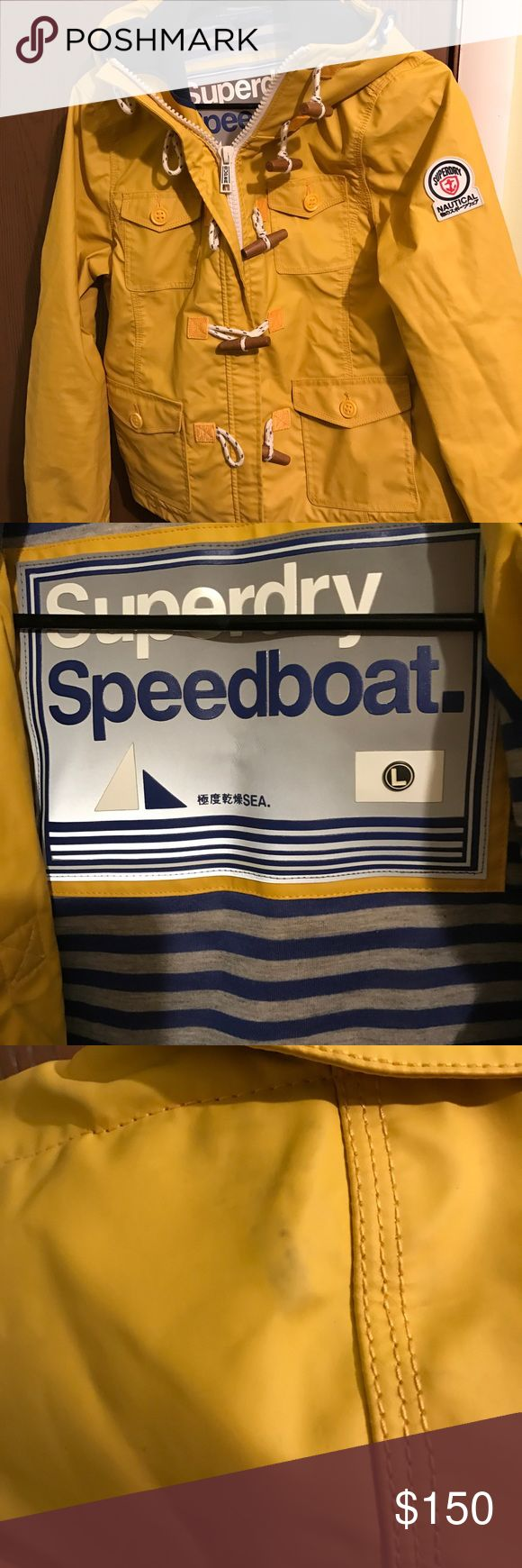 Superdry yellow Speedboat raincoat Great quality coat. Has a nice, warm lining for when you don't want to get wet or cold! 💧. Has a scuff in the hood from hanging it up. Wrinkled from storage. Barely worn. Came direct from Superdry website. Superdry Jackets & Coats