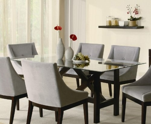 Cappuccino Wood Glass Top Dining Table 516 Glass Dinning Table Base Ideas