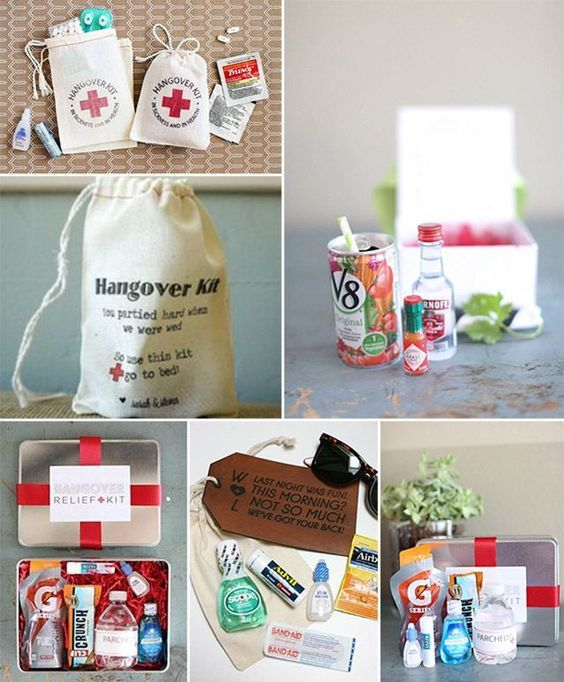"""Hangover kit! Ideas for inside: gum, advil, pepto bismol tabs, small gatorade instant pack, visine and attach the bag to a mini water bottle! Place in a basket with a label of """"In sickness and in health"""""""