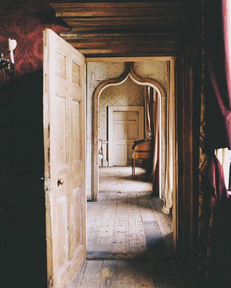 A ground floor enfilade in West Horsley Place, a rambling and decrepit Jacobean house in Surrey, owned until her death last year by Mary, Duchess of Roxburghe. World of Interiors, September 2015.