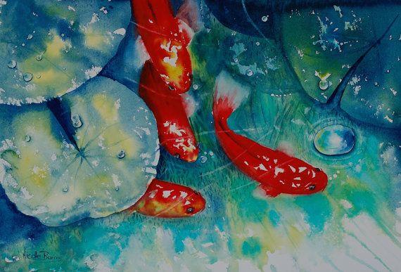 Koi Fish Painting Original Watercolour Painting by NicoleBarrosArt